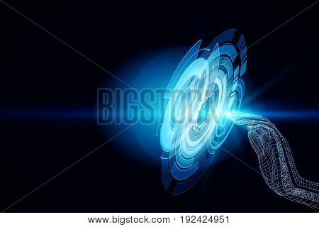 Side view of abstract grid hand pressing digital button. Technology concept. 3D Rendering