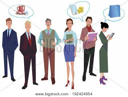 Group of office workers employees managers with speech bubbles. Business people in casual and office clothes. Isolated on white. Business Icons. Business design. Vector