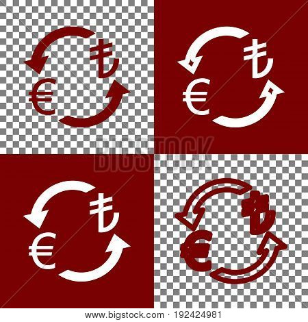 Currency exchange sign. Euro and Turkey Lira. Vector. Bordo and white icons and line icons on chess board with transparent background.