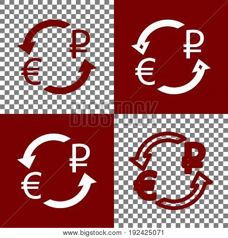 Currency exchange sign. Euro and Russia Ruble. Vector. Bordo and white icons and line icons on chess board with transparent background.