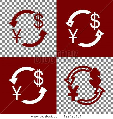 Currency exchange sign. China Yuan and US Dollar. Vector. Bordo and white icons and line icons on chess board with transparent background.