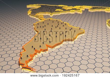 Abstract map with small people/businessmen figures on honeycomb/hexagon patterned background. Worldwide concept. 3D Rendering