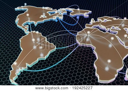 Abstract digital map with connected points on dark honeycomb background. Global business concept. 3D Rendering