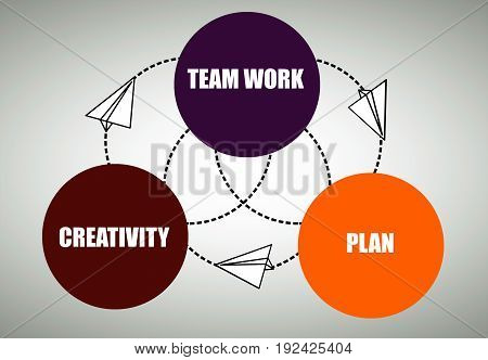 Colorful business diagram connected with dotted circles and paper planes. Growth concept