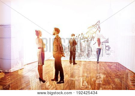 Businessmen and women communicating and drawing business sketch on wall of interior with city view. Startup concept. Double exposure