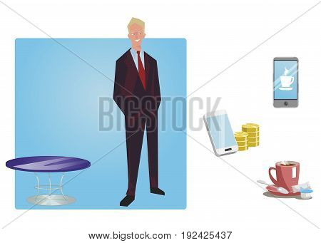 Businessman manager in a business suit stands with hands in pockets. Business Icons. Business design. Vector