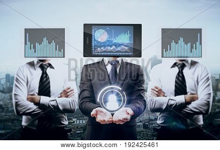 Tablet with business charts headed businessmen holding hr icon on city background. Online recruitment concept