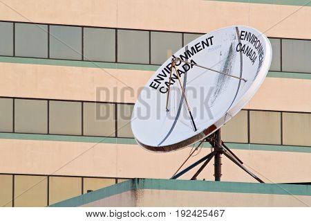 DARTMOUTH CANADA - JUNE 23 2017: Environment Canada satellite dish. Environment Canada is a federal government department dealing with environmental issues.