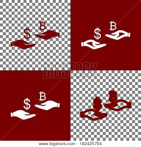 Currency exchange from hand to hand. Dollar and Bitcoin. Vector. Bordo and white icons and line icons on chess board with transparent background.