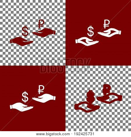 Currency exchange from hand to hand. Dollar and Ruble. Vector. Bordo and white icons and line icons on chess board with transparent background.