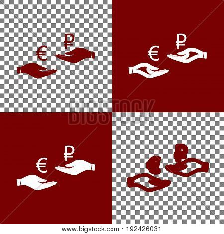 Currency exchange from hand to hand. Euro and Ruble. Vector. Bordo and white icons and line icons on chess board with transparent background.