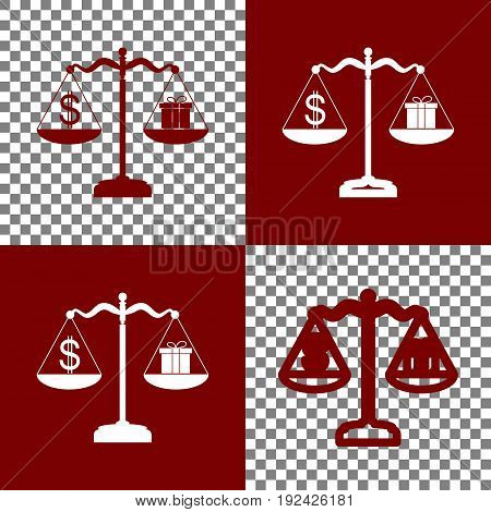 Gift and dollar symbol on scales. Vector. Bordo and white icons and line icons on chess board with transparent background.