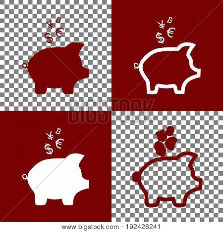 Piggy bank sign with the currencies. Vector. Bordo and white icons and line icons on chess board with transparent background.