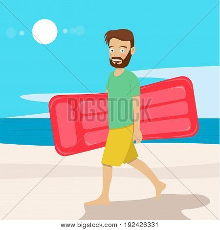 Young hipster man with air mattress walking along the tropical beach