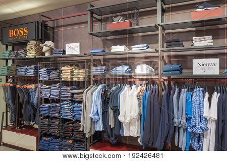 NETHERLANDS - THE HAGUE - JUNE 23 2017: Store from De Bijenkorf chain in the center of The Hague Netherlands. Presents the Hugo Boss collection.