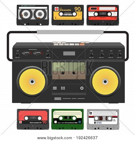 Retro record player with stereo cassettes over white background