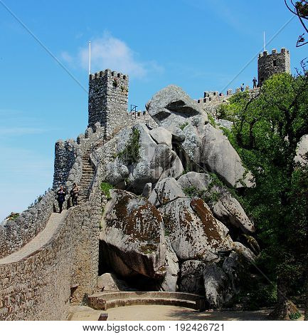 Sintra, Portugal - April 29, 2014: Moors Castle landscape near Sintra