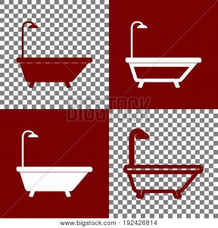 Bathtub sign. Vector. Bordo and white icons and line icons on chess board with transparent background.