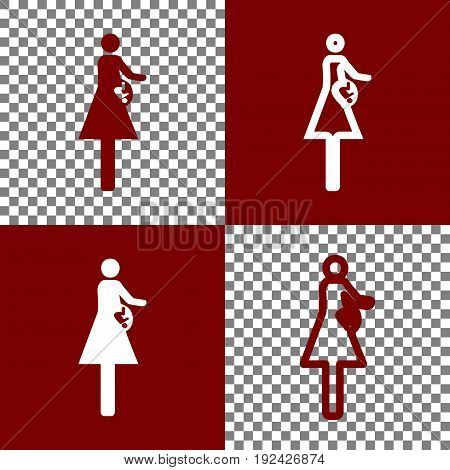 Women and baby sign. Vector. Bordo and white icons and line icons on chess board with transparent background.
