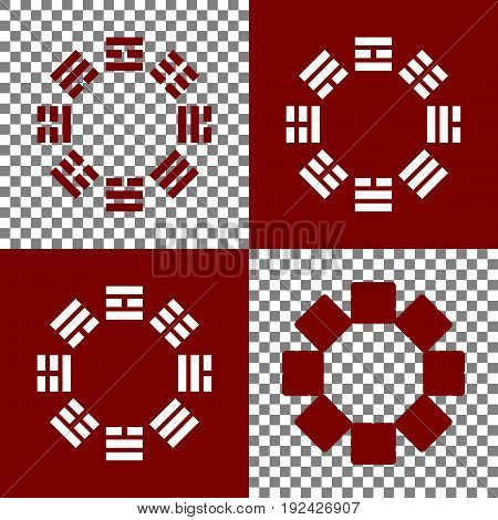 Bagua sign. Vector. Bordo and white icons and line icons on chess board with transparent background.