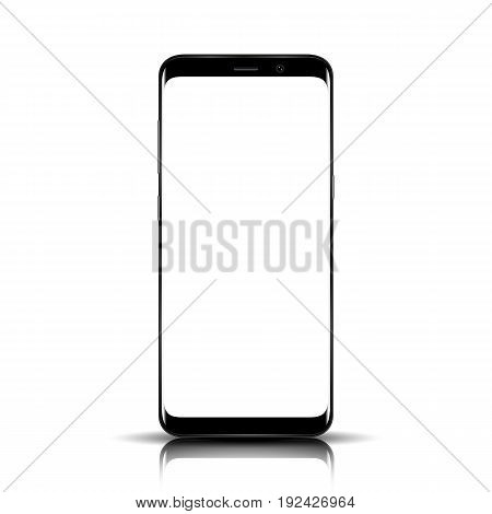 Smart Phone. Realistic Mobile Phone Smart Phone With Blank Screen Isolated On Background. Vector Ill