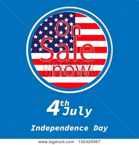 Sale for American Independence Day 4 th july. Discount poster design. National flag. Vector illustration. Patriotic symbol holiday poster. Happy independence day USA Celebration wallpaper.
