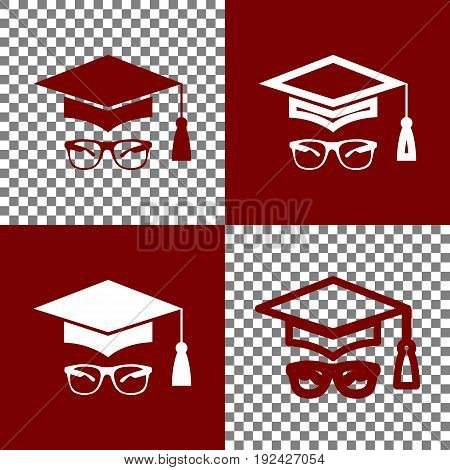 Mortar Board or Graduation Cap with glass. Vector. Bordo and white icons and line icons on chess board with transparent background.