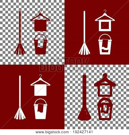 Broom, bucket and hanger sign. Vector. Bordo and white icons and line icons on chess board with transparent background.