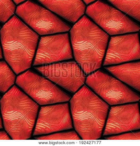 Seamless 3d pavement pattern of polygonal stones with red waves. Red hot background with wavy pattern of sharp stones. 3d rendering
