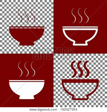 Soup sign. Vector. Bordo and white icons and line icons on chess board with transparent background.