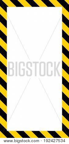 Vertical banner frame, diagonal yellow and black stripes, striped rectangular vector, warning, potential danger sign template