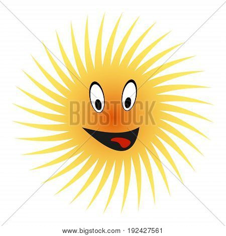 Happy sun play the ape  shows tongue from mouth, vector concept of happy hot summer