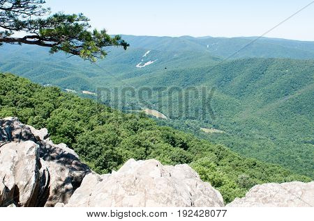 View of Raven's Roost Overlook, Blue Ridge Parkway Mountains