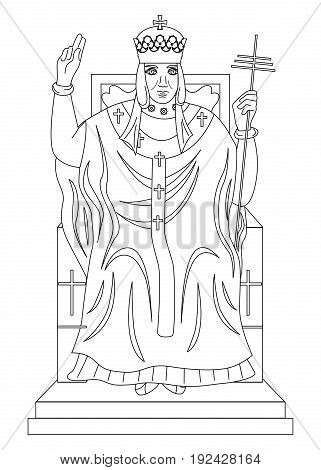 the illustration - with portrait of man - hierophant.