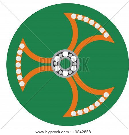 Orange spinner with transparent center and bearing a flat style. Vector image on a round dark green background. Element of design, interface.