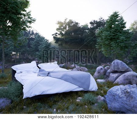 vacation concept background with bed and evening forest photo