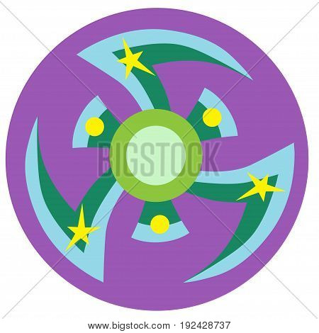 Blue and green spinner with pointed blades a flat style. Vector image on a round purple background. Element of design, interface.