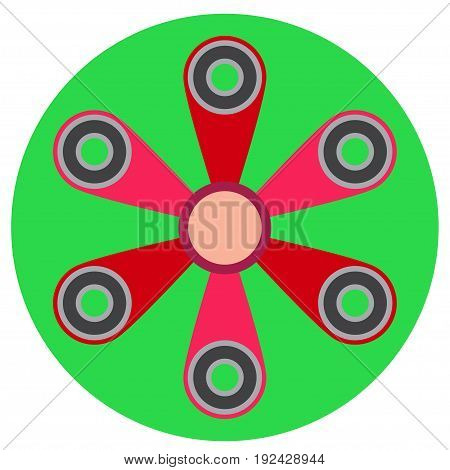 Pink spinner with six blades a flat style. Vector image on a round light green background. Element of design, interface.
