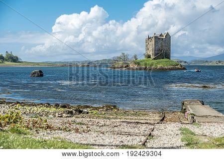 The historic castle Stalker in Argyll, Scotland