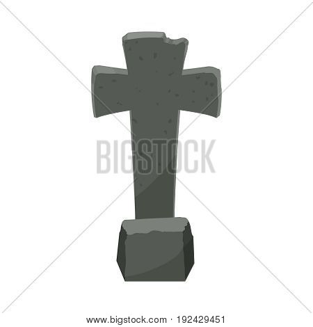 Cartoon Tombstone With RIP Illustration. Halloween tombstone for graveyard landscape with rest in peace inscription. Funny cartoon style vector illustration