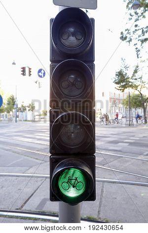 Bike Sign In Green Light