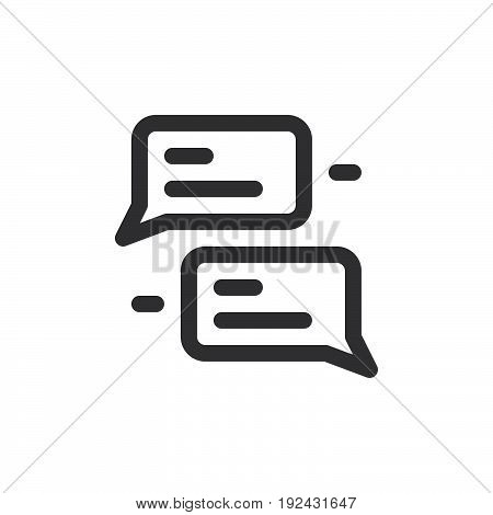 Speech bubbles line icon outline vector sign linear style pictogram isolated on white. Chat symbol logo illustration. Thick line design. Pixel perfect graphics