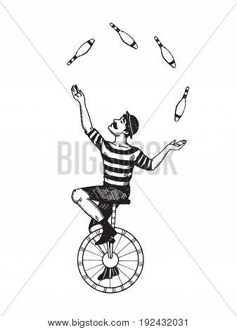 Circus juggler vector illustration. Scratch board style imitation. Hand drawn image.