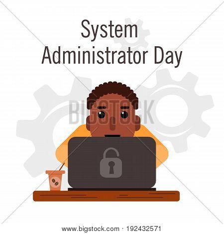 Day of the system administrator. Cartoon, funny picture man curly hair, a swarthy complexion by the system administrator. Stock vector.