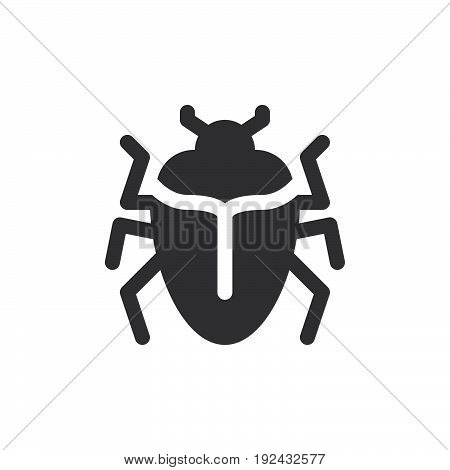Bug icon vector filled flat sign solid pictogram isolated on white. Symbol logo illustration. Pixel perfect