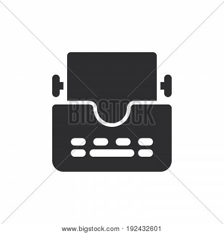 Typewriter icon vector filled flat sign solid pictogram isolated on white. Symbol logo illustration. Pixel perfect