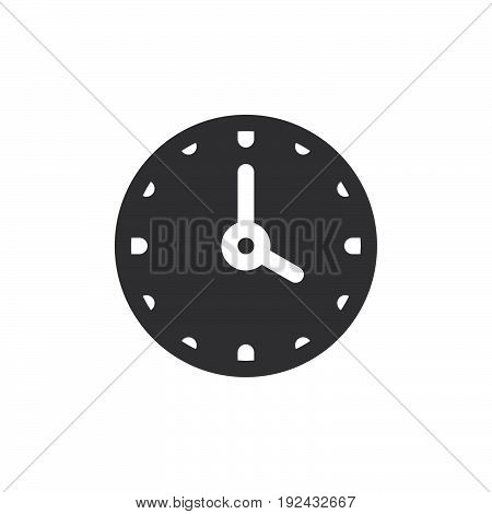 Clock icon vector filled flat sign solid pictogram isolated on white. Time symbol logo illustration. Pixel perfect