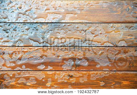 Background texture of water on wooden boards