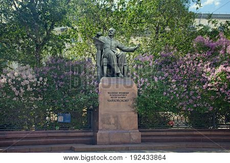 Moscow Russia - June 18 2017: The monument to the great Russian composer Pyotr Ilyich Tchaikovsky by the Moscow State Conservatory. Tchaikovsky is depicted sitting in armchair in front of music stand