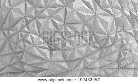 Geometric relief wallVector background in white paintingAbstract triangular background in monochrome color with wireframe edge.